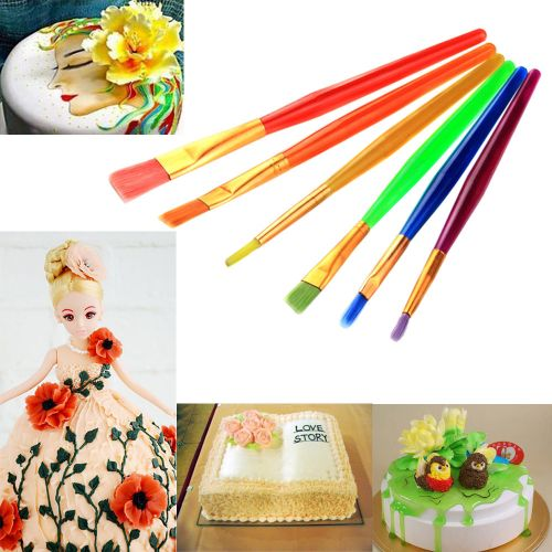 6pcs Fondant Cake Decorating Pen Cream Color Toning Brush Baking Pastry Tools