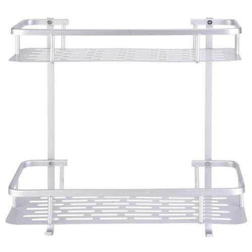 Double Layers Aluminum Wall Mounted Storage Shelf Rack