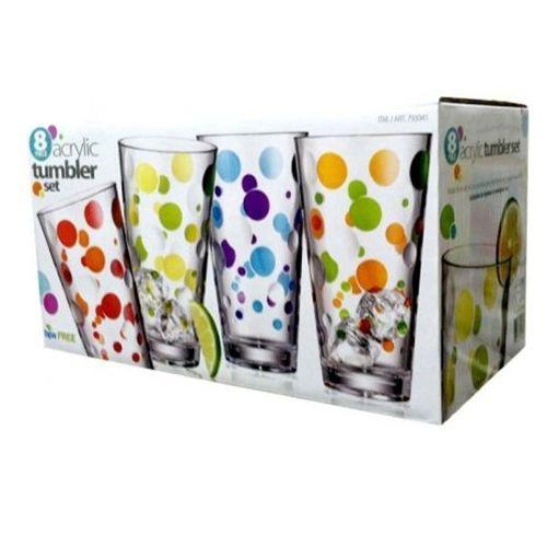 Acrylic Tumbler 8 Piece Set 24 Oz Colorful Polka Dot Glass Look Indoor Outdoor