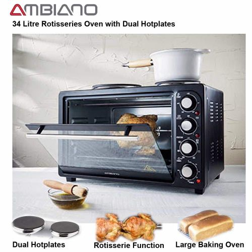 Ambiano 34L Electric Convection Oven With Twin Hot Plates & Rotisserie