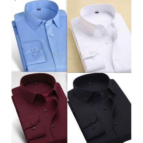 4 Long Sleeved Shirts For Men - Wine/Sky Blue/White/Black