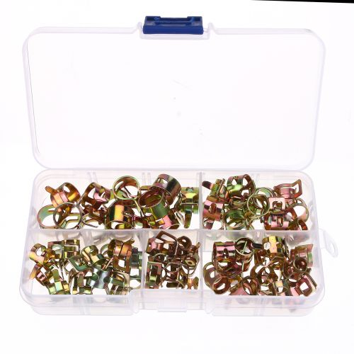 75Pcs Fuel Hose Line Tubing Clamp Spring Band Type Action Pipe Clip