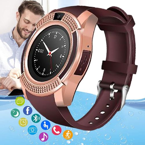Waterproof Smart Watch With Camera,MCard & Sim Slot - Gold