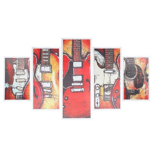 5pcs Guitar Painting Canvas Home Wall Decor Art Home Abstract Picture Unframed