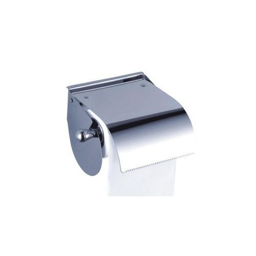 Stainless-Steel Toilet Paper Tissue Roll Holder With Shield - Silver