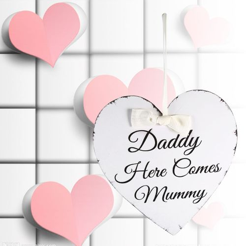 Sweetbaby Vintage Love Heart Shape Daddy Here Comes Mummy Wedding Party Wooden Hanging Sign Plaque Gift
