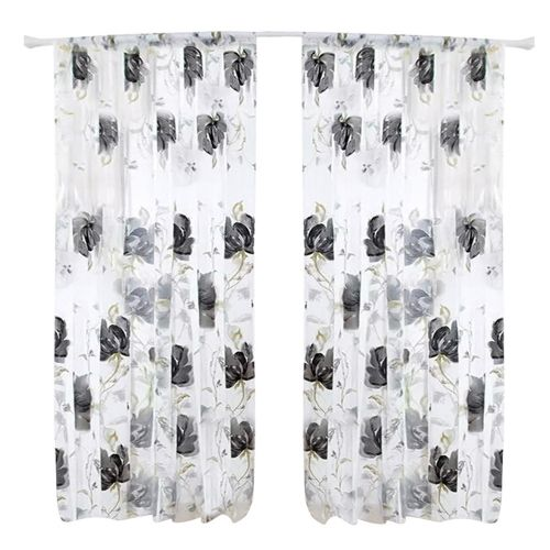 Dtrestocy Floral Vines Leaves Tulle Door Window Curtain Drape Panel Sheer Scarf Valances B