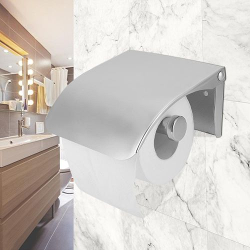 Roll Holder, Wall Mounted Toilet Paper Dispenser Stainless Steel Toilet Bathroom Plastic Tissue Box For Hotel Restaurant Public Bathroom