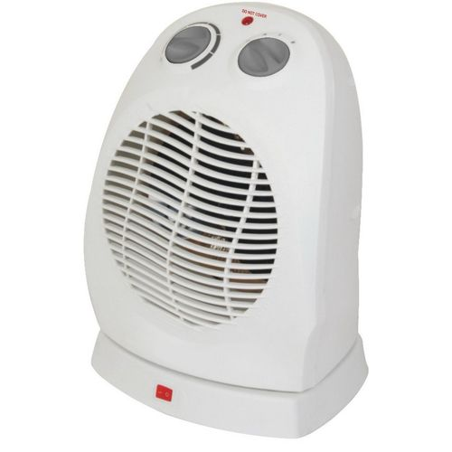 Home Oscillating Electric Heater Fans 2kw Adjustable Thermostat 220V White