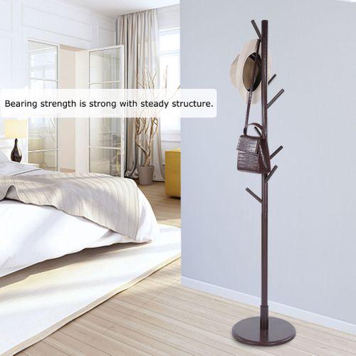 8 Hooks Solid Wood Hanger Floor Standing Coat Rack Durable Home Office Coat Hat Jacket Vertical Hanger Rack
