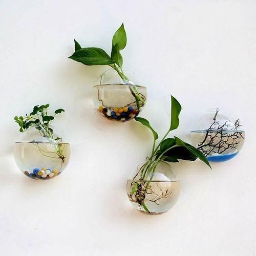 Creative Wall Hanging Transparent Glass Vase Hydroponic Living Room Home Decor #12cm