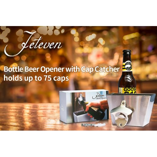 Iron BUDWEISER Wall Mounted Bottle Cap Opener+ Catcher Box Screws Bar Cola Beer