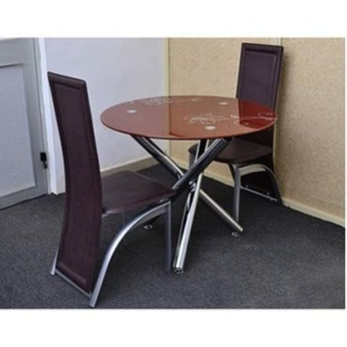 Round Brown Dinning Table + 2 Leather Chairs