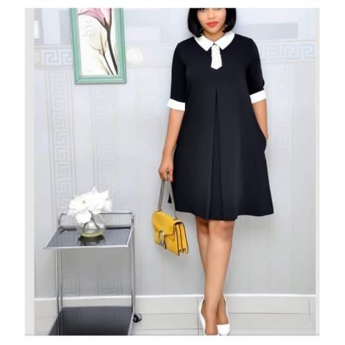 Black With White Collar Shift Dress - Black