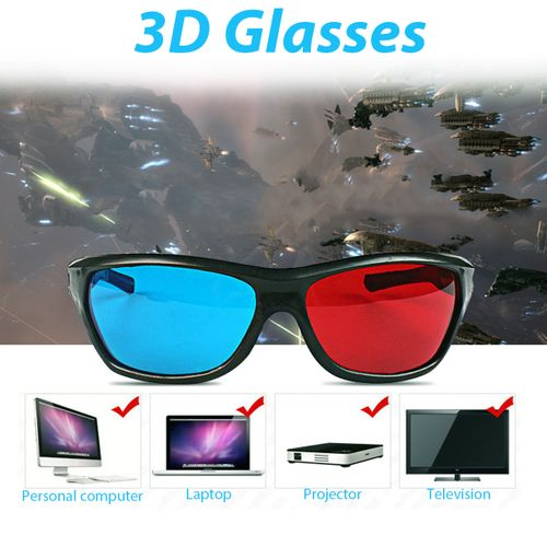 Red Blue 3D Glasses Black Frame For Dimensional Anaglyph Movie Game DVD Projecto