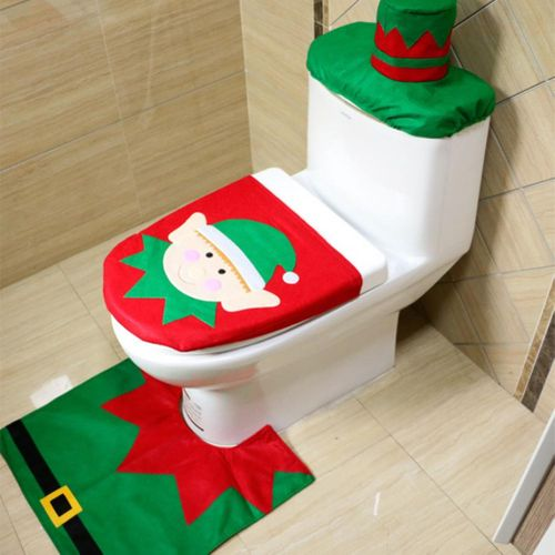 3Pcs/Set Christmas Bathroom Decoration Santa Claus Toilet Seat Cover Water Tank Lid Cover W/ Rug Christmas Party Decor