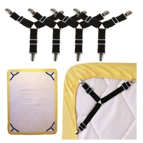 4PCS Triangle Bed Mattress Sheet Clips Grippers Straps