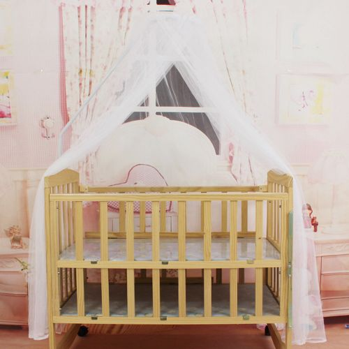 Baby Bedding Crib Mosquito Net Portable Size Round Toddler Mesh White