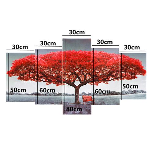 Tree Painting 5pcS Canvas Print Flowers Poster Home Decor