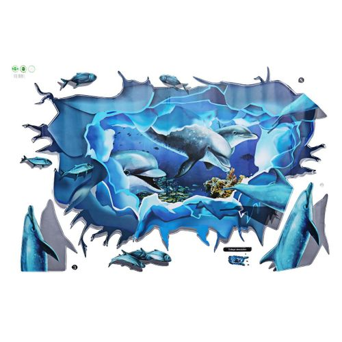 90x60cm 3D Dolphin Wall Stickers Vinyl Decal Removable Art Mural Room Home Decor