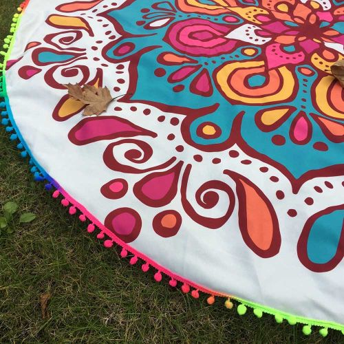 Generic Round Tassel Hippie Tapestry Beach Picnic Throw Yoga Mat Towel Blanket