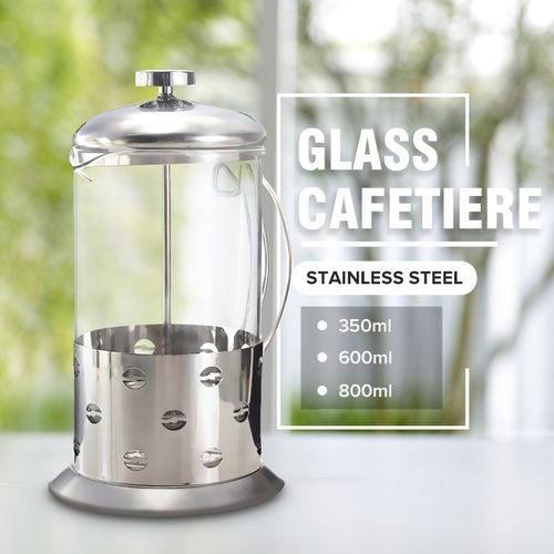 Stainless Steel Glass Cafetiere French Filter Coffee Tea Press Plunger -600ml