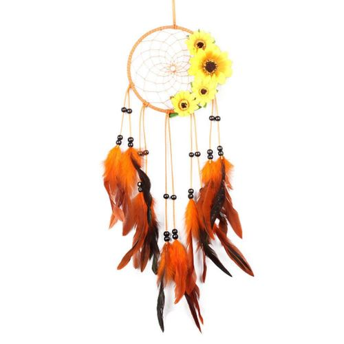 Handmade Dream Catcher, Orange Feather DreamCatcher Flower Dream Catcher Sun Dream Catcher Net For Cars Kids Bedroom Wall Hanging Decoration Decor Ornament