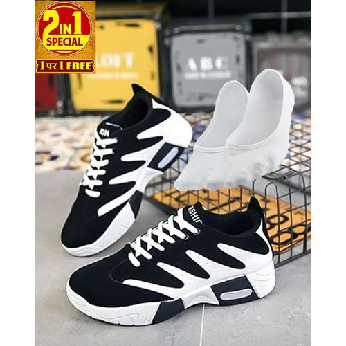 2-In-1 Lace-up Slip-on Sneakers With Ankle Socks