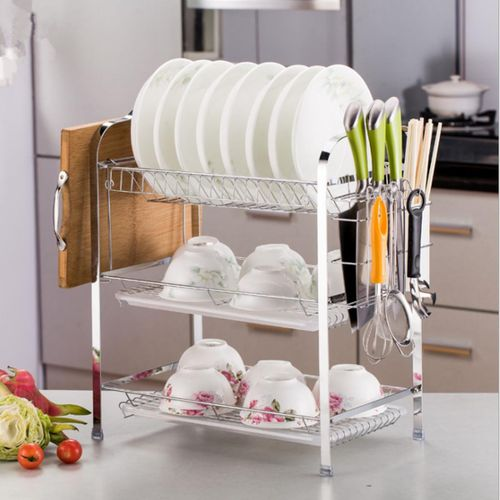 3 Layer Tier Chrome Alloy Dish Drainer Cutlery Holder Rack Drip Tray Kitchen Tool