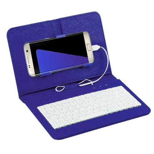 Fohting General Wired Keyboard Flip Holster Case For Andriod Mobile Phone 4.2''-6.8'' BU -Blue