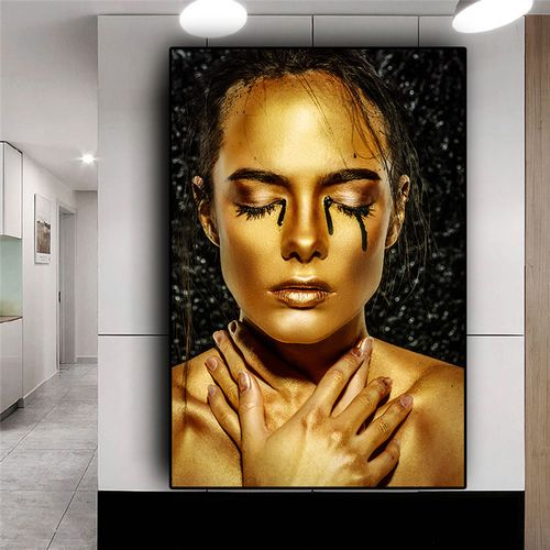 Nude African Art Black And Gold Woman Oil Painting On Canvas Cuadros Posters And Prints Wall Art Picture For Living Room Decor
