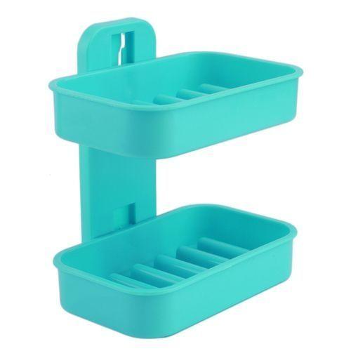 Double Soap Holder Plastic Soap Dish Bathroom Shower Rack*
