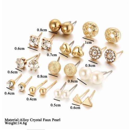 12 Pairs Stud Earring Set - Gold Color