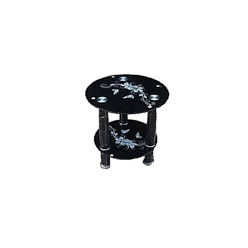Tampered Glass Coffee Side Stool-Black