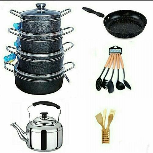 Non Stick Pots, Frying Pan, Whistling Kettle, Non Stick Spoons & Wooden Spoon Set
