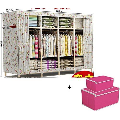 4 Column Mobile Wooden Wardrobe Plus Storage Boxes