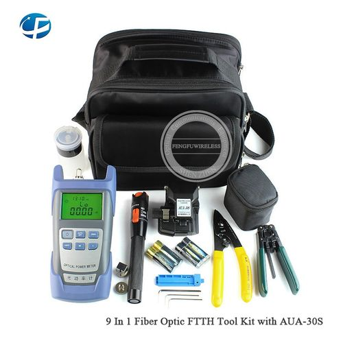 Good Price Fiber Optic FTTH Tool Kit With AUA-30S Fiber Cleaver And Optical Power Meter 10Mw Visual Fault Locator Wire Stripper