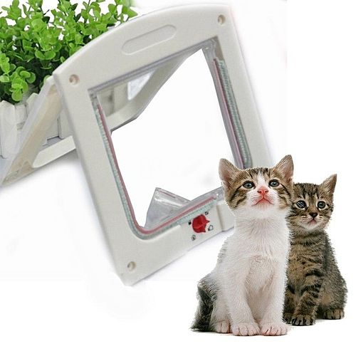 4 Way Medium Small Large Pet Cat Puppy Dog Lock Lockable Safe Flap Door Plastic