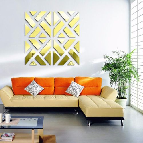 3D Removable 32Pcs Mirror Acrylic Wall Sticker DIY Art Vinyl Decal Home Decor