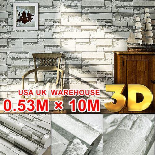 3D Wallpaper Bricks Slate Textured Rustic Grey Retro Wall Paper For Backdrop TV