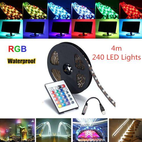 4m USB RGB LED Strip Light Bar TV Back Lighting + Remote Control Waterproof