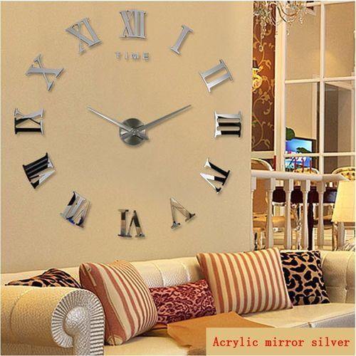 2018 New Home Decoration Quartz Metal 3d Mirror DIY Wall Clock