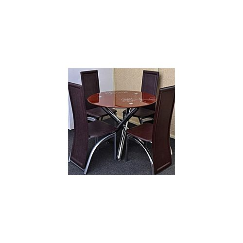 Round Brown Dinning Table + 4 Leather Chairs