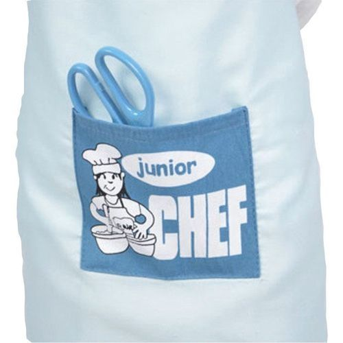 Junior Chef Polyester Kids Apron And Chef Hat Child Cooking Baby Apron Avental De Cozinha Divertido Pinafore Apron Blue