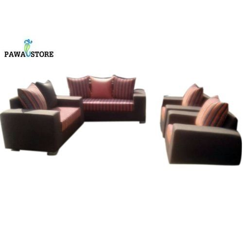 Striped 7-Seater Sofa Set - Brown/Orange with Free Ottoman (Delivery To Lagos Only)