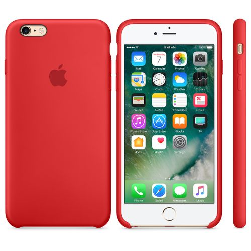 Silicon IPhone 6s Plus Leather Case Red