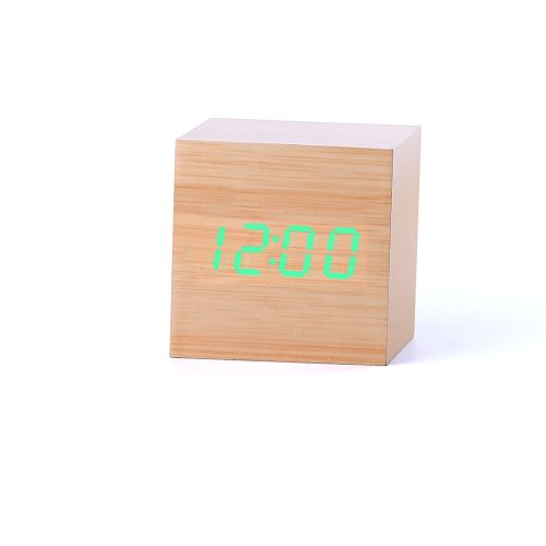 Sound Control Wooden Wood Square LED Alarm Clock