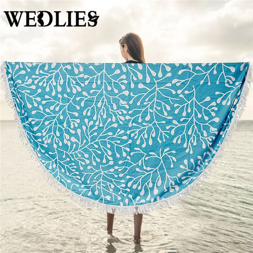 182340141694 Bohemian Mandala Round Beach Tapestry Hippie Throw Towel Table Cloth Yoga Mat-Blue