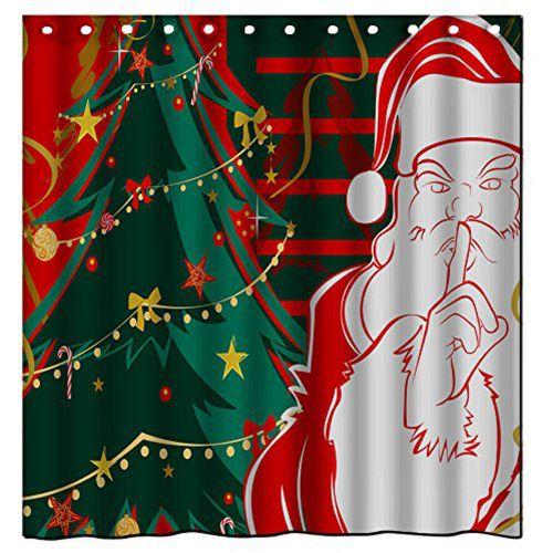 Dtrestocy Custom Merry Christmas Fabric Waterproof Bathroom Shower Curtain 65x 72