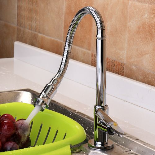Flexible Chrome Brass Pull Out Spring Kitchen Faucet